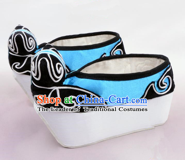 Traditional Beijing Opera Niche Blue Shoes Young Men Fulfillment of Cloud, Ancient Chinese Peking Opera Scholar Satin Flange Shoes