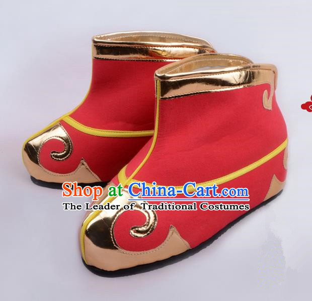Traditional Beijing Opera Takefu Shoes Young Men Quick Boots, Ancient Chinese Peking Opera Wu-Sheng Red Shoes