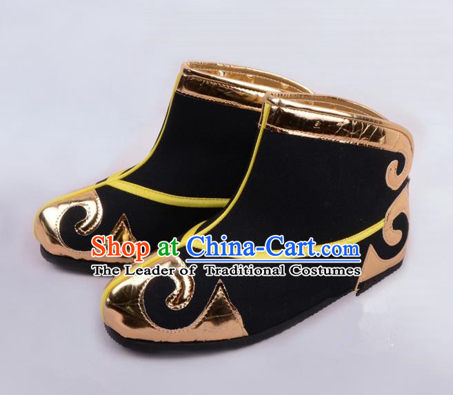 Traditional Beijing Opera Takefu Shoes Young Men Quick Boots, Ancient Chinese Peking Opera Wu-Sheng Black Shoes