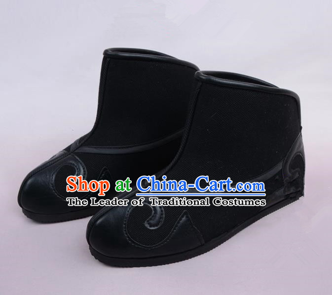 Traditional Beijing Opera Takefu Shoes Young Men Warrior Quick Boots, Ancient Chinese Peking Opera Wu-Sheng Shoes