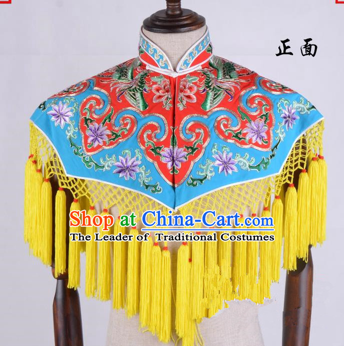Top Grade Professional Beijing Opera Diva Costume Hua Tan Red Embroidered Cloud Shoulder, Traditional Ancient Chinese Peking Opera Princess Embroidery Clothing