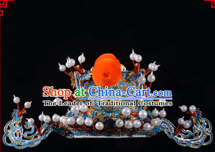 Traditional Beijing Opera Niche Hair Accessories God of Wealth Hat, Ancient Chinese Peking Opera Emperor Hat Headwear