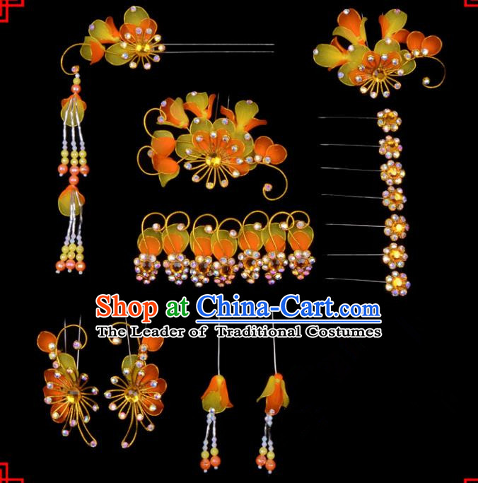 Traditional Beijing Opera Diva Hair Accessories Head Ornaments Complete Set Orange Hairpins, Ancient Chinese Peking Opera Hua Tan Hair Stick Headwear