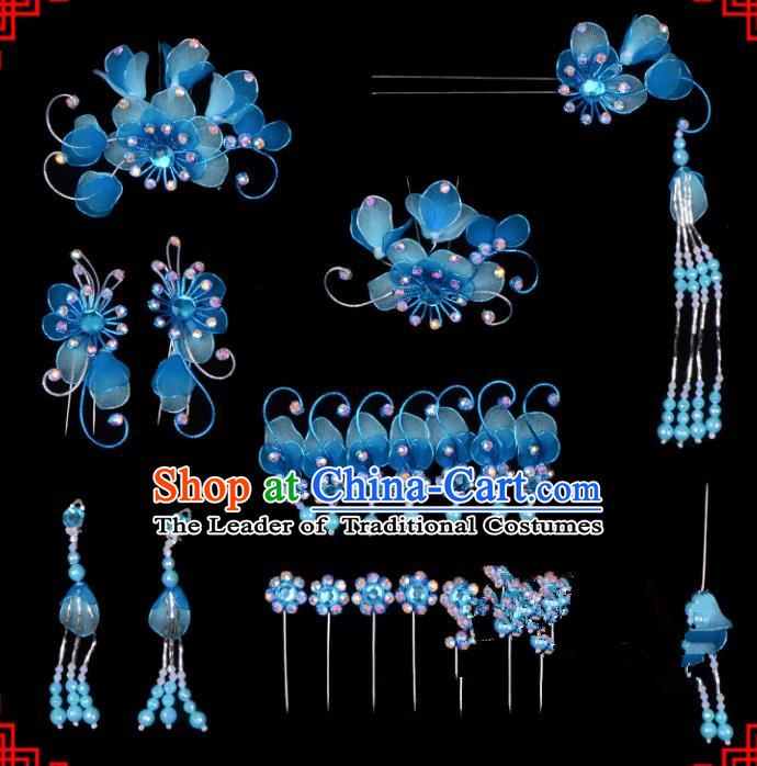 Traditional Beijing Opera Diva Hair Accessories Head Ornaments Complete Set Blue Hairpins, Ancient Chinese Peking Opera Hua Tan Hair Stick Headwear