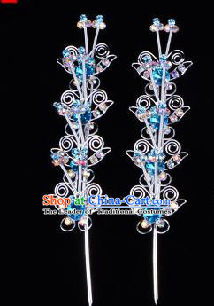 Traditional Beijing Opera Diva Hair Accessories Blue Crystal Butterfly Head Ornaments Hairpins, Ancient Chinese Peking Opera Hua Tan Hair Stick Headwear