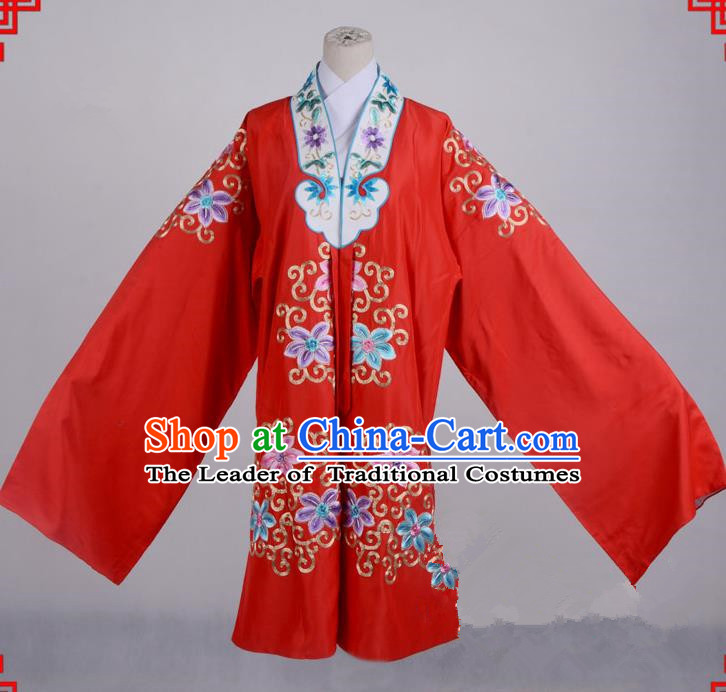 Top Grade Professional Beijing Opera Palace Lady Costume Hua Tan Red Silk Embroidered Cape, Traditional Ancient Chinese Peking Opera Diva Wedding Embroidery Clothing