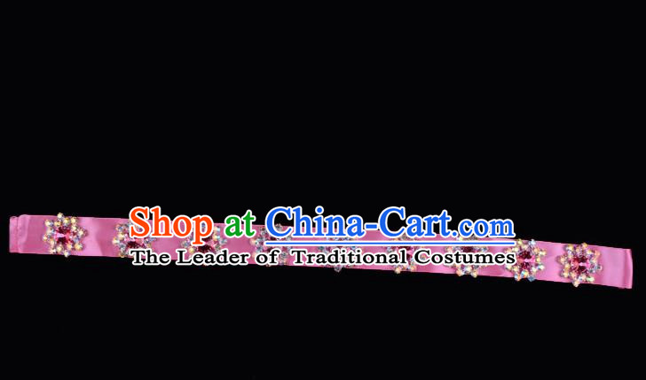 Traditional Beijing Opera Diva Hair Accessories Colorful Crystal Pink Headband, Ancient Chinese Peking Opera Hua Tan Hair Clasp Headwear