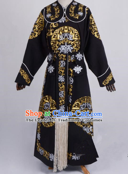Traditional China Beijing Opera Takefu Costume, Ancient Chinese Peking Opera Wu-Sheng General Warrior Embroidery Black Clothing