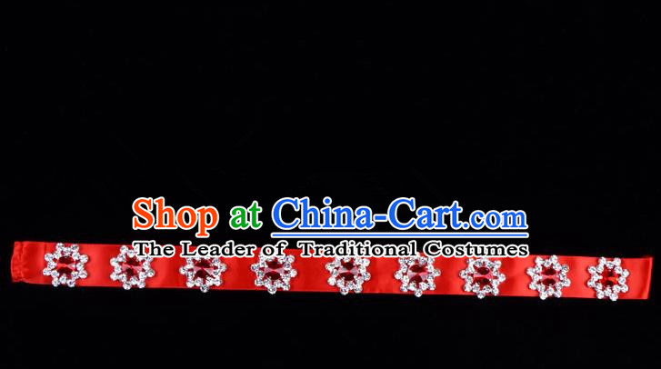 Traditional Beijing Opera Diva Hair Accessories Colorful Crystal Red Headband, Ancient Chinese Peking Opera Hua Tan Hair Clasp Headwear