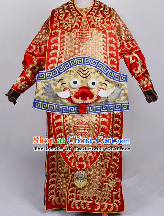Top Grade Professional Beijing Opera General Costume Takefu Embroidered Cape, Traditional Ancient Chinese Peking Opera Military Officer Embroidery Robe Clothing