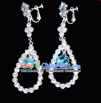 Traditional Beijing Opera Diva Jewelry Accessories Blue Crystal Earrings, Ancient Chinese Peking Opera Hua Tan Eardrop