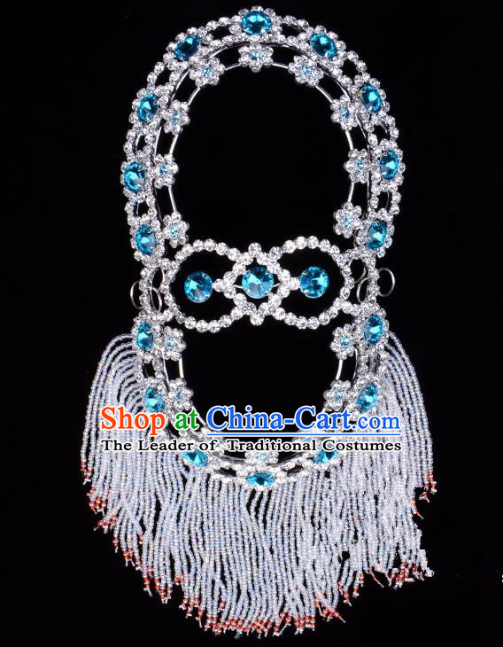 Traditional Beijing Opera Diva Hair Accessories Blue Crystal Head Ornaments Hairpins, Ancient Chinese Peking Opera Hua Tan Headband Headwear
