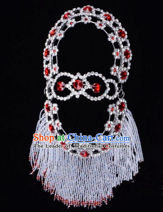 Traditional Beijing Opera Diva Hair Accessories Red Crystal Head Ornaments Hairpins, Ancient Chinese Peking Opera Hua Tan Headband Headwear