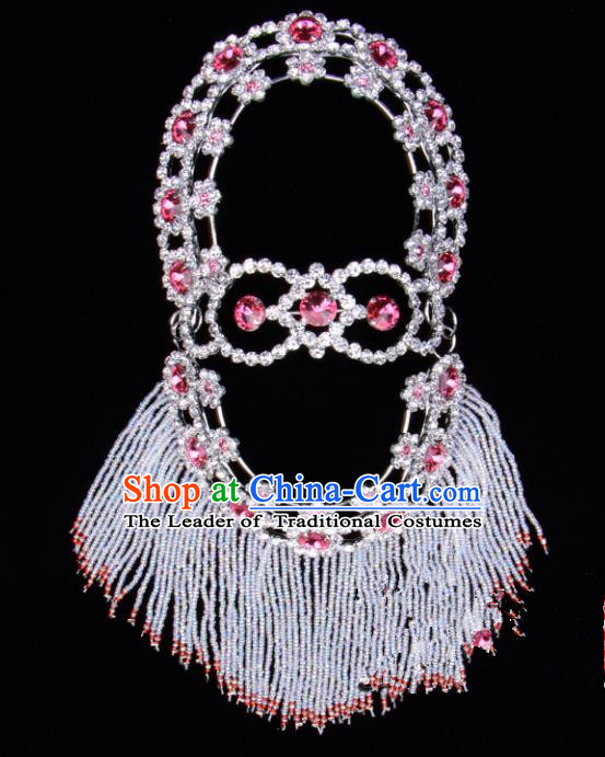 Traditional Beijing Opera Diva Hair Accessories Pink Crystal Head Ornaments Hairpins, Ancient Chinese Peking Opera Hua Tan Headband Headwear