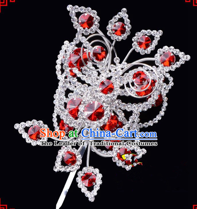Traditional Beijing Opera Diva Hair Accessories Red Crystal Butterfly Large Hairpins, Ancient Chinese Peking Opera Hua Tan Hair Stick Headwear