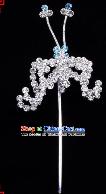 Traditional Beijing Opera Diva Hair Accessories Blue Crystal Bat Hairpins, Ancient Chinese Peking Opera Hua Tan Hair Stick Headwear