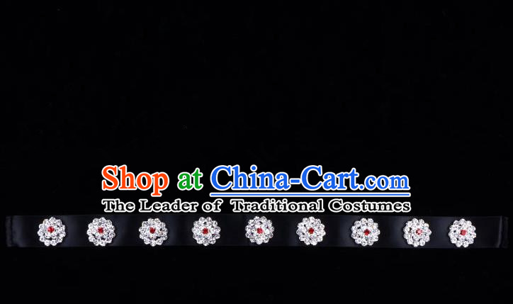 Traditional Beijing Opera Diva Hair Accessories Crystal Black Headband, Ancient Chinese Peking Opera Hua Tan Hair Clasp Headwear