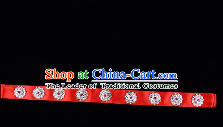 Traditional Beijing Opera Diva Hair Accessories Crystal Red Headband, Ancient Chinese Peking Opera Hua Tan Hair Clasp Headwear