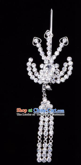Traditional Beijing Opera Diva Hair Accessories Crystal Hairpins Phoenix Step Shake, Ancient Chinese Peking Opera Hua Tan Hair Stick Headwear