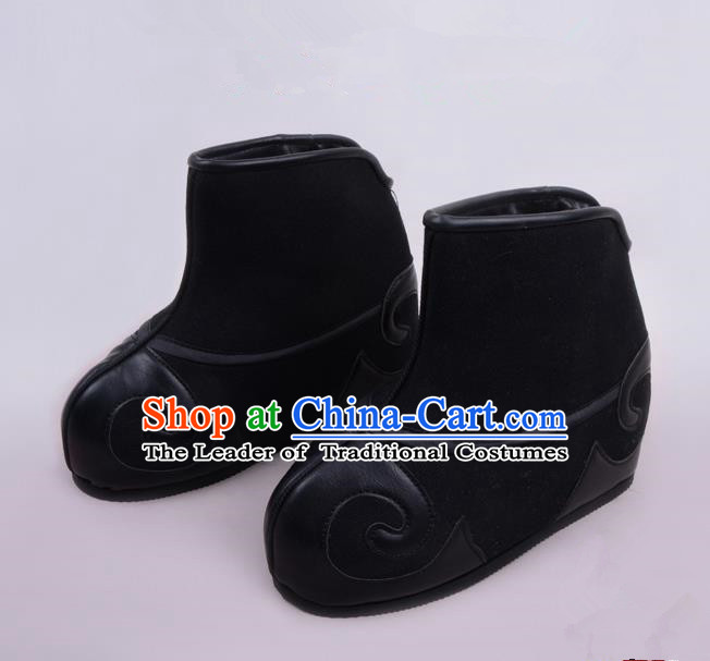 Traditional Beijing Opera Takefu Shoes Young Men Warrior Black Quick Boots, Ancient Chinese Peking Opera Wu-Sheng Shoes