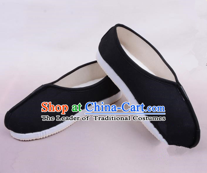 Traditional Beijing Opera Takefu Black Cloth Shoes, Ancient Chinese Peking Opera Monk Shoes
