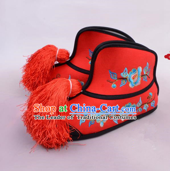 Traditional Beijing Opera Swordplay Embroidered Red Boots Young Lady Shoes, Ancient Chinese Peking Opera Blues Female Warrior Shoes