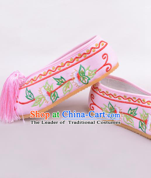 Traditional Beijing Opera Hua Tan Pink Embroidered Shoes Young Lady Princess Shoes, Ancient Chinese Peking Opera Diva Blood Stained Shoes