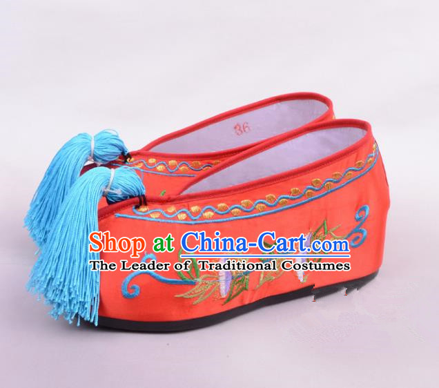 Traditional Beijing Opera Hua Tan Embroidered Shoes Princess Red Shoes, Ancient Chinese Peking Opera Diva Blood Stained Shoes