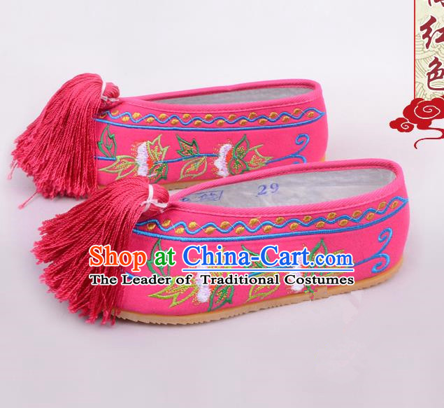 Traditional Beijing Opera Hua Tan Rosy Embroidered Shoes Young Lady Princess Shoes, Ancient Chinese Peking Opera Diva Blood Stained Shoes