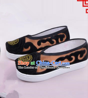 Traditional Beijing Opera Cloth Shoes Old Women Brown Shoes, Ancient Chinese Peking Opera Pantaloonn Flange Shoes