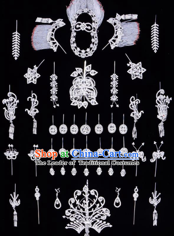 Traditional Beijing Opera Diva Hair Accessories Crystal Butterfly Head Ornaments Complete Set, Ancient Chinese Peking Opera Hua Tan Hairpins Phoenix Step Shake Headwear