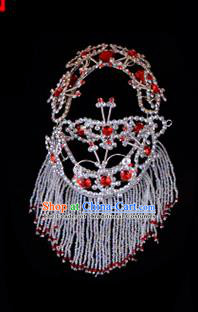 Traditional Beijing Opera Diva Hair Accessories Red Crystal Head Ornaments Headband, Ancient Chinese Peking Opera Hua Tan Hairpins Headwear