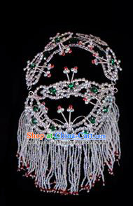 Traditional Beijing Opera Diva Hair Accessories Green Crystal Head Ornaments Headband, Ancient Chinese Peking Opera Hua Tan Hairpins Headwear
