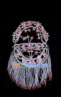 Traditional Beijing Opera Diva Hair Accessories Pink Crystal Head Ornaments Headband, Ancient Chinese Peking Opera Hua Tan Hairpins Headwear