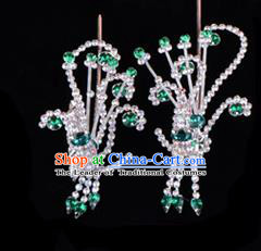 Traditional Beijing Opera Diva Hair Accessories Green Crystal Head Ornaments Phoenix Step Shake, Ancient Chinese Peking Opera Hua Tan Hairpins Headwear