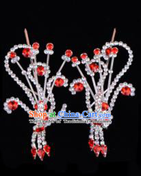 Traditional Beijing Opera Diva Hair Accessories Red Crystal Head Ornaments Phoenix Step Shake, Ancient Chinese Peking Opera Hua Tan Hairpins Headwear