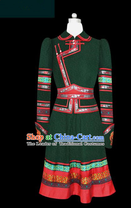 Traditional Chinese Mongol Nationality Costume Princess Green Dress Mongolian Robe, Chinese Mongolian Minority Nationality Embroidery Clothing for Women