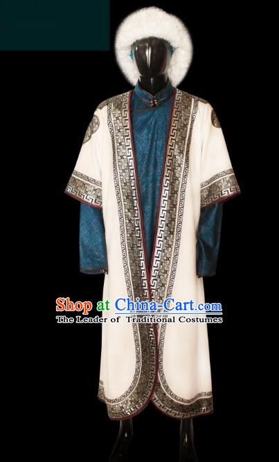 Traditional Chinese Mongol Nationality Dance Costume Mongolian Robe, Chinese Mongolian Minority Nationality Royal King Embroidery Costume for Men