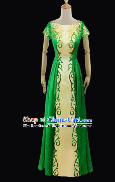 Traditional Chinese Mongol Nationality Dance Costume Female Green Full Dress, Chinese Mongolian Minority Nationality Embroidery Clothing for Women