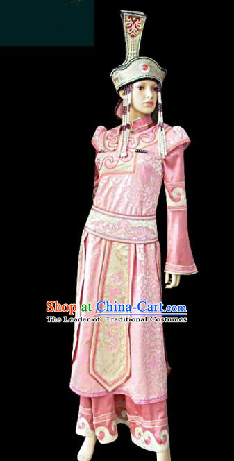 Traditional Chinese Mongol Nationality Dance Costume Princess Pink Dress, Chinese Mongolian Minority Nationality Embroidery Clothing for Women