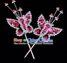 Traditional Beijing Opera Diva Hair Accessories Rosy Crystal Head Ornaments Butterfly Hairpin, Ancient Chinese Peking Opera Hua Tan Hairpins Headwear