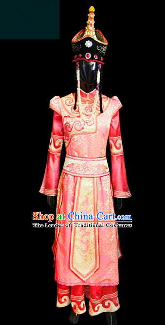 Traditional Chinese Mongol Nationality Dance Costume Princess Red Dress, Chinese Mongolian Minority Nationality Embroidery Clothing for Women