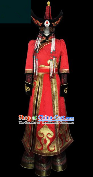 Traditional Chinese Mongol Nationality Dance Costume Princess Red Wedding Dress, Chinese Mongolian Minority Nationality Embroidery Mongolian Robe Clothing for Women
