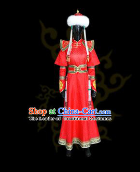 Traditional Chinese Mongol Nationality Dance Costume Princess Red Dress, Chinese Mongolian Minority Nationality Embroidery Mongolian Robe Clothing for Women