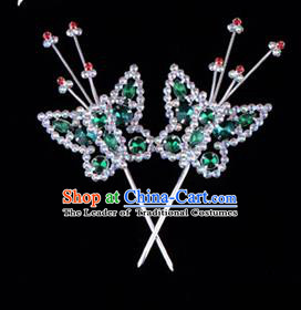 Traditional Beijing Opera Diva Hair Accessories Green Crystal Head Ornaments Butterfly Hairpin, Ancient Chinese Peking Opera Hua Tan Hairpins Headwear