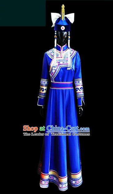 Traditional Chinese Mongol Nationality Dance Costume Female Blue Mongolian Robe, Chinese Mongolian Minority Nationality Princess Embroidery Costume for Women
