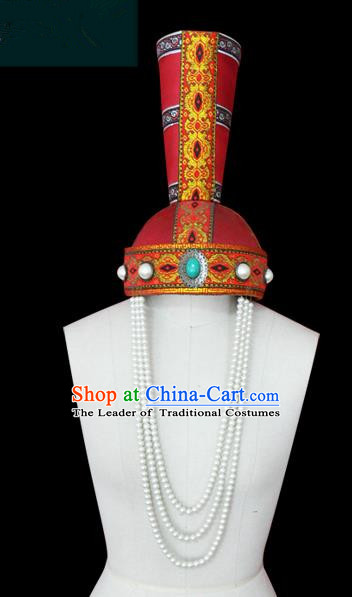 Traditional Chinese Mongol Nationality Hair Accessories Mongols Princess Pearls Tassel Hat, Chinese Mongolian Minority Nationality Headwear for Women