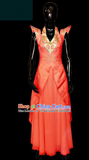 Traditional Chinese Mongol Nationality Dance Costume Red Full Dress, Chinese Mongolian Minority Nationality Princess Embroidery Clothing for Women