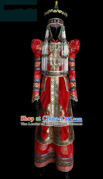 Traditional Chinese Mongol Nationality Dance Costume Female Red Pleated Dress, Chinese Mongolian Minority Nationality Princess Embroidery Wedding Clothing for Women
