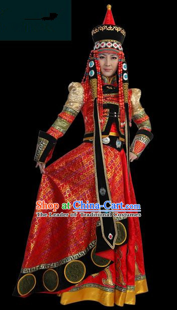 Traditional Chinese Mongol Nationality Wedding Costume Female Pleated Skirt, Chinese Mongolian Minority Nationality Princess Embroidery Costume for Women